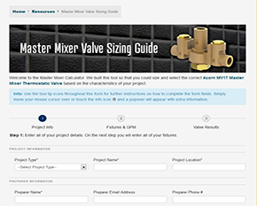 Acorn Controls Sizing Calculator Helps Users Select the Right Master Mixing Valve