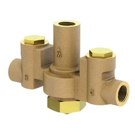 "15 GPM, Brass Body, Thermostatic Hi-Lo Master Mixing Valve, 1/2"" NPT Brass Ball Valves"