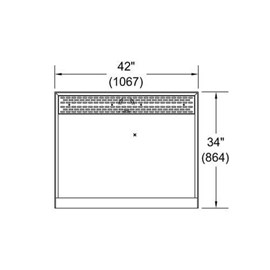 "42"" x 34"" (Long Side Entry), Corterra Solid Surface Rectangular Shower Base"