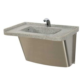 One Station Cast Solid Surface (Corterra®) Basin (Hi-Lo Style)