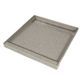 "36"" x 36"" (3 Sides Flanged), Corterra Solid Surface Square Shower Base"