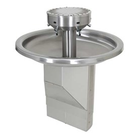 Six Station Circular Stainless Steel Wash Fountain with Angular ADA Base