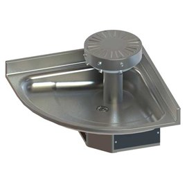 Three Station, ADA, Corner Stainless Steel Wash Fountain