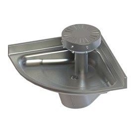 Three Station, ADA, Corner Stainless Steel Wash Fountain with Contour Base