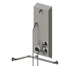 ADA Surface Mount Stainless Steel Apex Shower with Handheld and Wide Housing