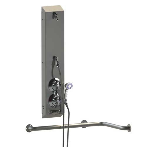 Ada Surface Mount Stainless Steel Apex Shower With Handheld Acorn