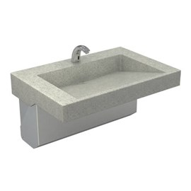 One Station Cast Solid Surface (Corterra®) Meridian®-Edge™ Wash Basin