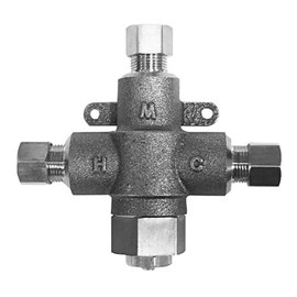 "3/8"" Compression Connection Rough Chrome Finish Brass Body Thermostatic Lavatory Tempering Valve"