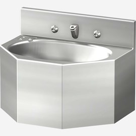 "18"" Multi-Sided Security Stainless Steel Lavatory with Oval Bowl for Rear Mount (Chase) Application"