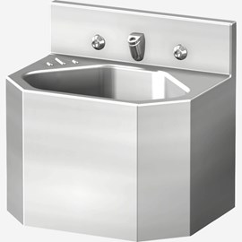 "15"" Compact Security Stainless Steel Lavatory with Multi-Sided Bowl for Rear Mount (Chase) Application"