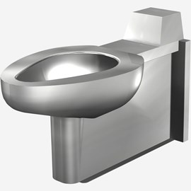 On-Floor, Wall Waste, Siphon Jet Stainless Steel Security Toilet for Rear Mount (Chase) Application