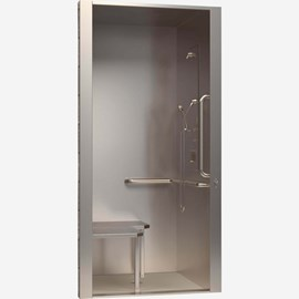 "36"" x 36"" x 88"" Height, ADA Stainless Steel Security Cabinet Shower for Rear Mount (Chase) Application"