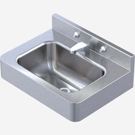 "20"" x 15"" Front Mount Stainless Steel Lavatory with Rectangle Bowl Configured for Mounting Carrier"