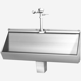 Four Foot Stainless Steel Trough Urinal for Front Mount