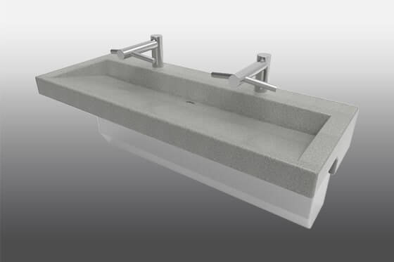 Meridian-Edge Modern Double Trough Trench Sink 3802
