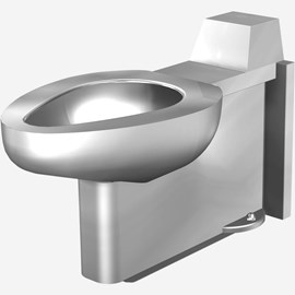 On-Floor, Floor Waste, Siphon Jet Stainless Steel Replacement Security Toilet for Rear Mount (Chase) Application