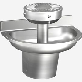 Three Station Semi-Circular Stainless Steel Wash Fountain with Contour Base