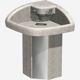 Two Station Cast Solid Surface (Corterra®) Corner-Lav Wash Fountain