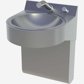 One Station Curved Front Stainless Steel Wash Basin