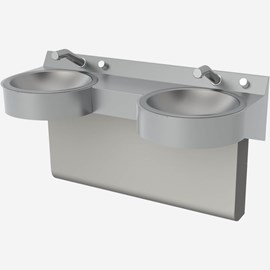 Two Station Curved Front Stainless Steel Wash Basin
