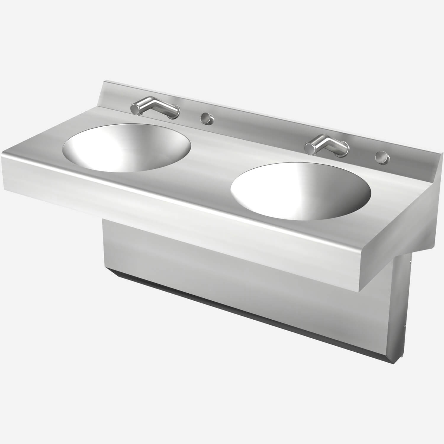 Two Station Straight Front Stainless Steel Wash Basin