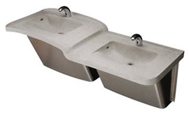 Two Station Cast Solid Surface (Corterra®) Hi-Lo Basin