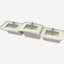 Three Station Cast Solid Surface (Corterra®) Hi-Lo Basin