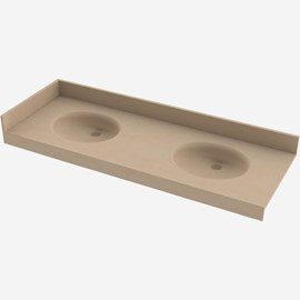 Two Station Cast Solid Surface (Corterra®) Counter-Lav