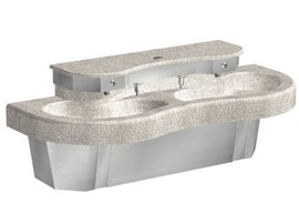 Two Station Cast Solid Surface (Corterra®) Kurve® Wash Basin