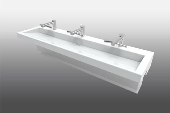Modern Trough Sink Trench Lavatory Sink Meridian 174 Edge
