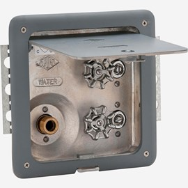 With Door/Frame, No Vacuum Breaker, Lumaloy Recessed Hot & Cold Hose Box