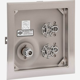 No Door, With Vacuum Breaker, Stainless Steel Recessed Hot & Cold Hose Box