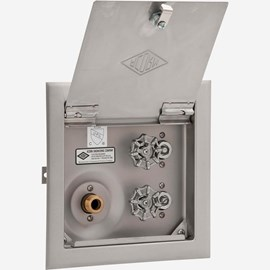 With Door, No Vacuum Breaker, Stainless Steel Recessed Hot & Cold Hose Box
