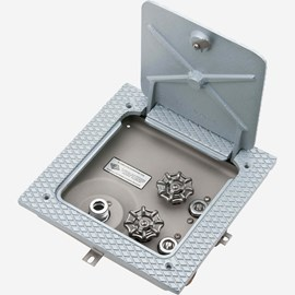 H & C, No Vacuum Breaker, Stainless Steel Recessed Hose Box with Lumaloy Non-Skid Top (Floor Install)