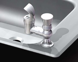 Option: Deck-Mounted Pushbutton Bubbler with Chrome Mouthguard