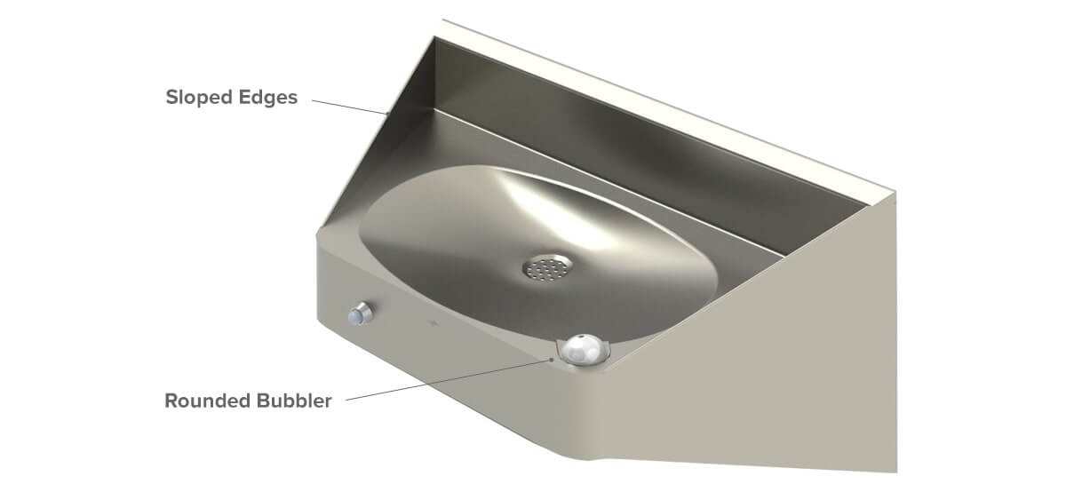 Ligature Resistant Drinking Fountains with Safe Edges
