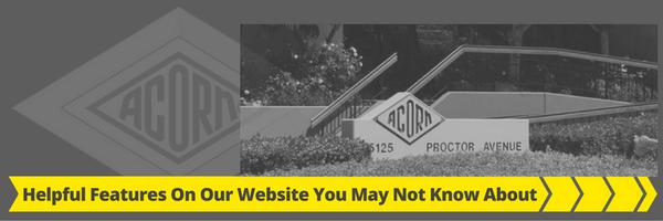 Helpful Features on Acorn Engineering Website