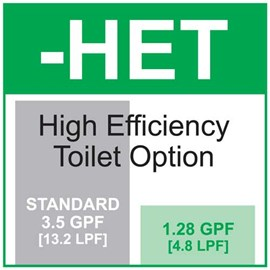 Option: High Efficiency Toilet Flush - 1.28 gallons (4.85 liters) per Flush