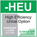 Option: High Efficiency Urinal Flush -1 pint (0.47 liters) to 1 /2 gallon (1.8 liters) per Flush