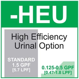 Option: High Efficiency Urinal Flush - 0.125 gallon (0.47 liters) to 0.5 gallon (1.8 liters) per Flush