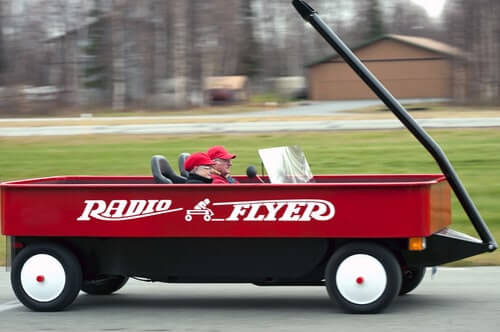 Fred Keller's converted 1976 Mazda pickup truck to look like a Radio Flyer wagon?
