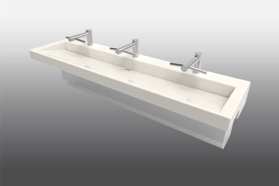 Modern Trough Sink Trench Lavatory Sink Meridian 174 Edge