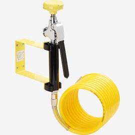 Wall Mount Self-Closing Drench Hose with 12-Foot Coiled Hose