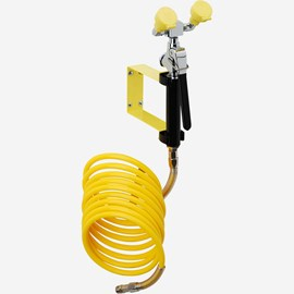 Stay-Open Wall Mount Eye Wash Drench Hose with 12-Foot Coiled Hose