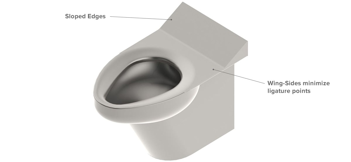 Comby Toilet with Minimized Ligature Points for Safety