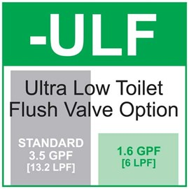 Option: Ultra Low Toilet Flush - 1.6 gallon (6 liter) per Flush