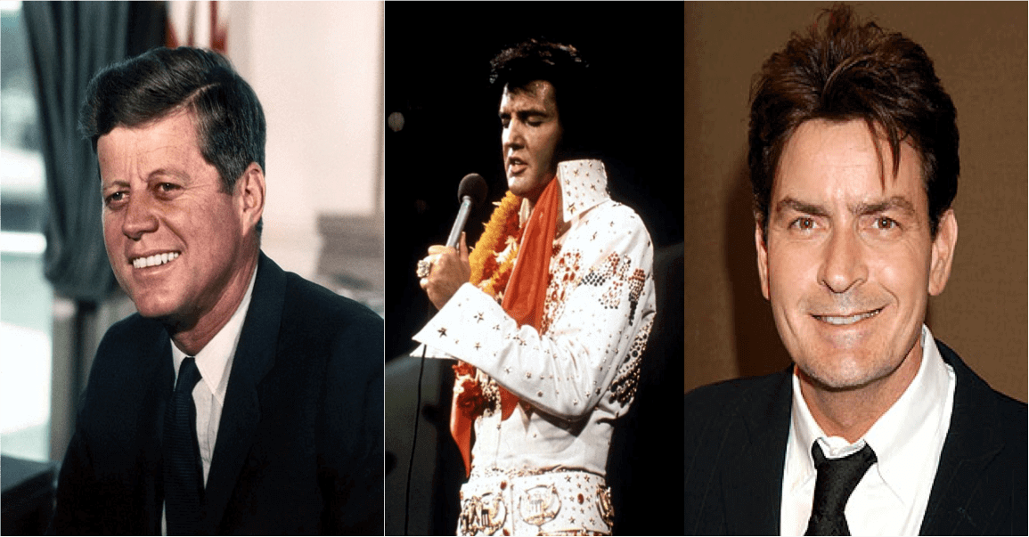 photos of JFK Jr., Elvis and Charlie Sheen